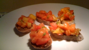 several bruschetta on a plate