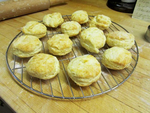 Image of baked tea biscuits on a cooling rack